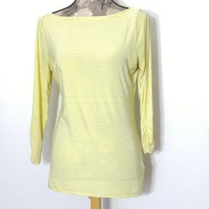 The Limited Top Sz S Yellow tan Striped Boat Neck